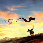 knight-dragon-horse-banner-spear-sky-clouds-countryside-natu